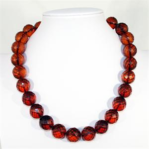 Cognac Color Baltic Amber Faceted Necklace