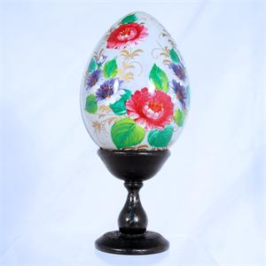 Russian Wooden Egg Floral Pattern Assorted Colors