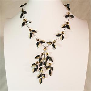 Designer Baltic Amber Leaf Necklace from Lithuania