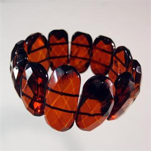 Cognac Color Baltic Amber Faceted Stretch Bracelet