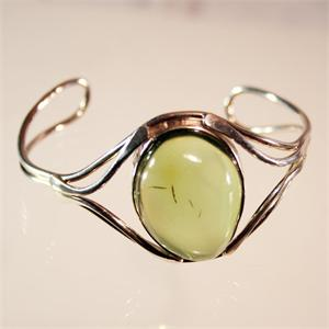 Natural Green Color Baltic Amber and 925 Sterling Silver Bracelet
