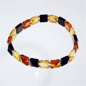 Multicolor Baltic Amber Faceted Stretch Bracelet from Lithuania