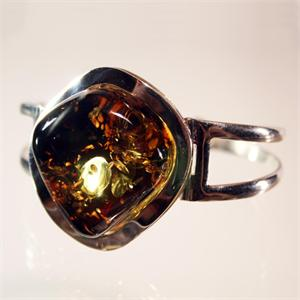 Cognac and Green Amber Bracelet in 925 Sterling Silver