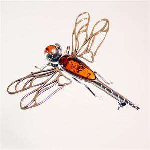 Baltic Amber and 925 Sterling Silver Butterfly Pin from Lithuania