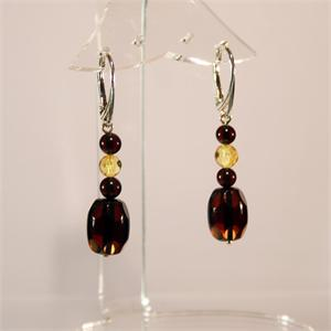Multicolor Faceted Baltic Amber Earrings from Lithuania