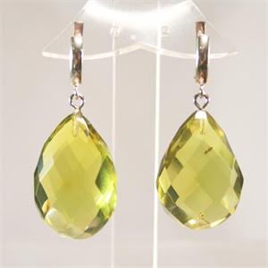 Green Amber Faceted Drop Earrings