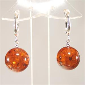 Perfectly Round Honey Amber Earrings from Lithuania