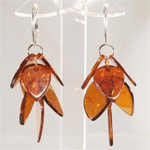 Honey Amber Designer Leaf Earrings with Sterling Silver from Lithuania