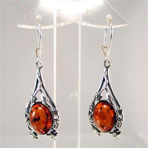 Cognac Amber and 925 Sterling Silver Earrings from Lithuania