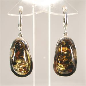 Green Baltic Amber and Sterling Silver Earrings Made in Lithuania