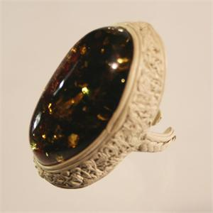 Baltic Amber and Hand Crafted Leather Designer Ring from Lithuania