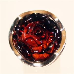 Cognac Amber Hand Carved Rose Ring set in 925 Sterling Silver