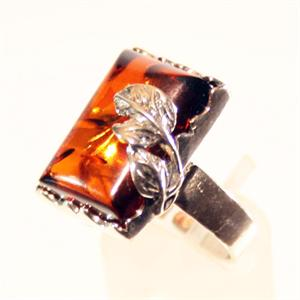 Dark Green Baltic Amber Ring set in 925 Sterling Silver from Lithuania