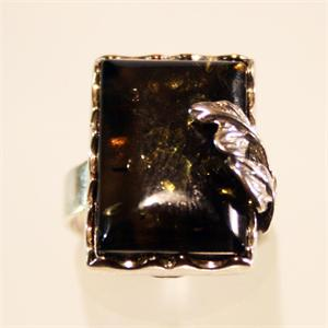 Dark Honey Baltic Amber Ring set in 925 Sterling Silver from Lithuania