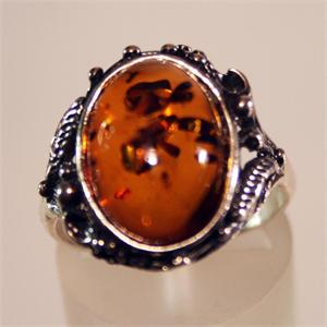 Baltic Amber Honey Color Ring set in 925 Sterling Silver from Lithuania
