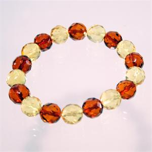Faceted Baltic Amber Stretch Bracelet made in Lithuania