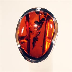 Cognac Color Baltic Amber Ring set in 925 Sterling Silver