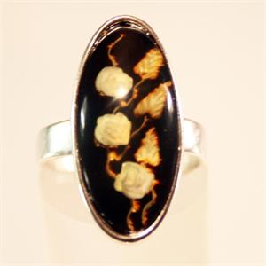 Cherry Color Baltic Amber Ring Carved and set in 925 Sterling Silver
