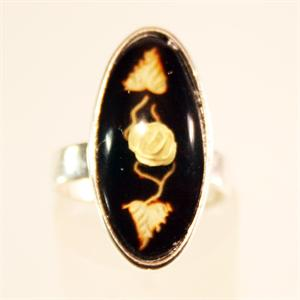 Cherry Color Baltic Amber Ring Carved and set in 925 Sterling Silver from Lithuania