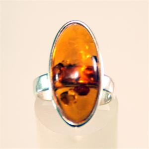 Honey Amber and 925 Sterling Silver Ring from Lithuania