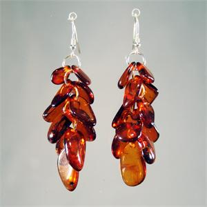 Designer Cognac Baltic Amber Earrings Hand Made in Lithuania