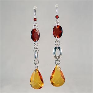 Designer Baltic Amber Faceted Honey and Cognac Color Earrings