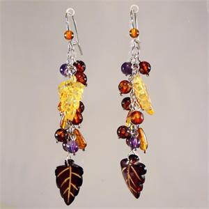 Multicolor Designer Faceted Baltic Amber Leaf Earrings from Lithuania