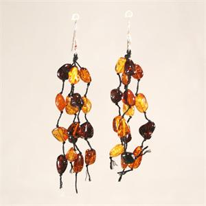 Honey and Cognac Baltic Amber Designer Drop Earrings from Lithuania