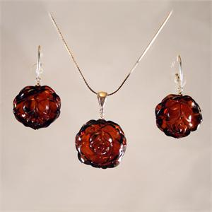 Honey Amber Rose Set of Earrings and Pendant from Lithuania