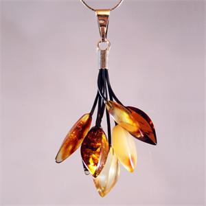 Multicolor Leaf Pendant made of Natural Baltic Amber from Lithuania