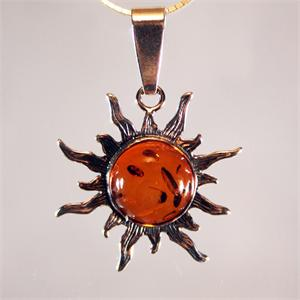 Honey Amber Sun Pendant set in 925 Sterling Silver from Lithuania