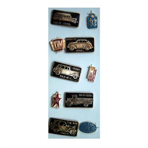 Vintage Set of Soviet Pins Depicting History of Automobiles