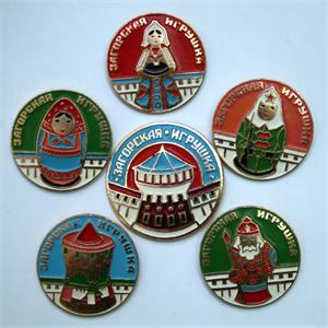 Vintage Set of Pins of Zagorsk Toys Made in the USSR
