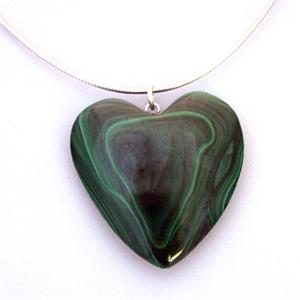 Natural Malachite Heart and Sterling Silver Chain Necklace