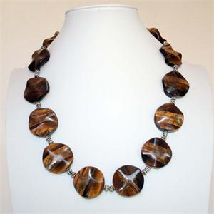 Tigers Eye and Sterling Silver Bead Designer Necklace
