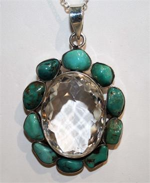 White Quartz and Turquoise Pendant set in 925 Sterling Silver