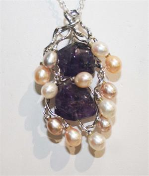 Amethyst and Pearl Designer Pendant set in Sterling Silver