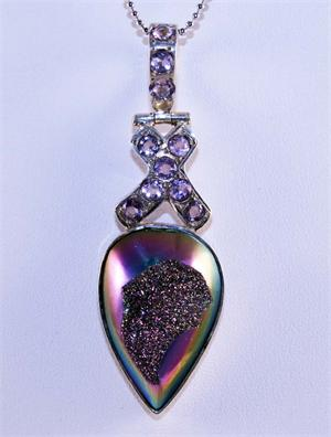 Drusy Quartz and Amethyst Pendant in Sterling Silver