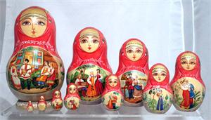 On the Bench Matryoshka Nesting Doll from Sergiev Posad Russia 3
