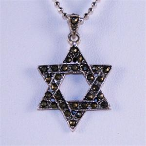 Marcasite and Sterling Silver Star of David Pendant