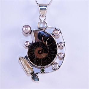 Ammonite Pearl Moonstone and 925 Sterling Silver Designer Pendant