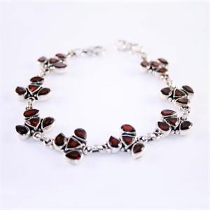 Designer Bracelet Garnet and Sterling Silver 925