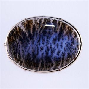 Moss Agate Pin in 925 Sterling Silver