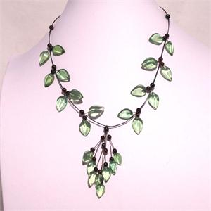 Designer Green Amber Leaf Necklace Hand Made in Lithuania