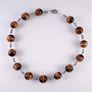 Tigers Eye and Pearl Necklace with 925 Sterling Silver