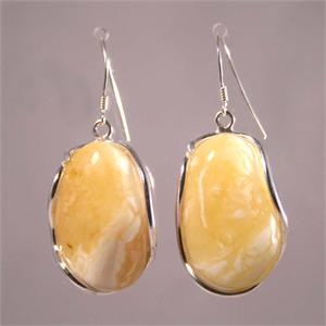 Butterscotch Amber and 925 Sterling Silver Earrings from Lithuania