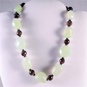 Chalcedony and Smokey Quartz Designer Necklace
