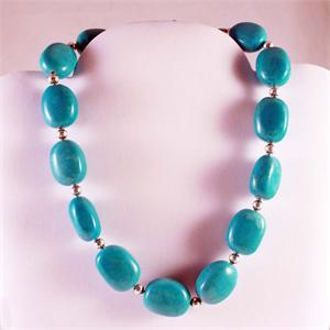 Turquoise and Sterling Silver Designer Necklace