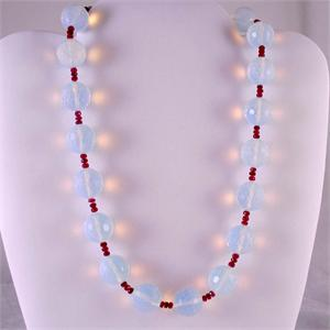 Opalized Crystal and Ruby Designer Necklace