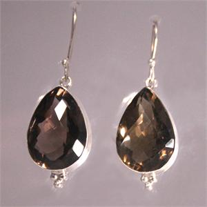 Large Smoky Quartz and 925 Sterling Silver Designer Earrings